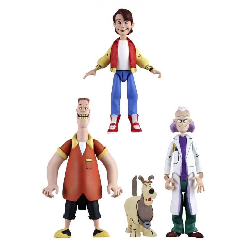 Lot 3 Figurines - Marty, Doc et Einstein, Biff - Retour Vers Le Futur - Toony Classics
