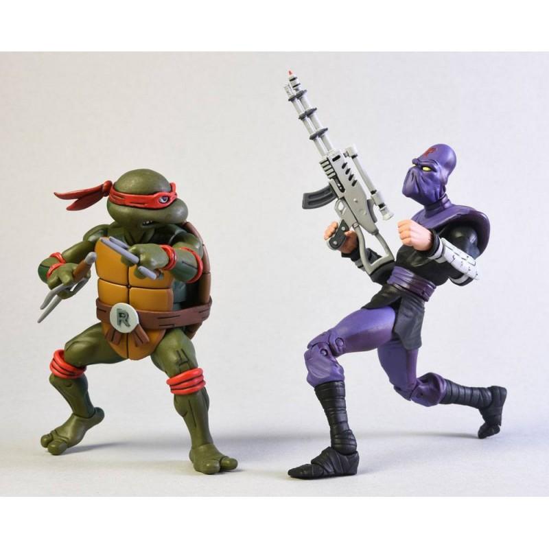 Tortues Ninja - Pack figurines Raphael Vs Foot Soldier - Classic Edition
